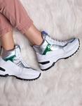 Εικόνα από Γυναικεία sneakers με μεταλλιζέ λεπτομέρειες Λευκό/Ασημί