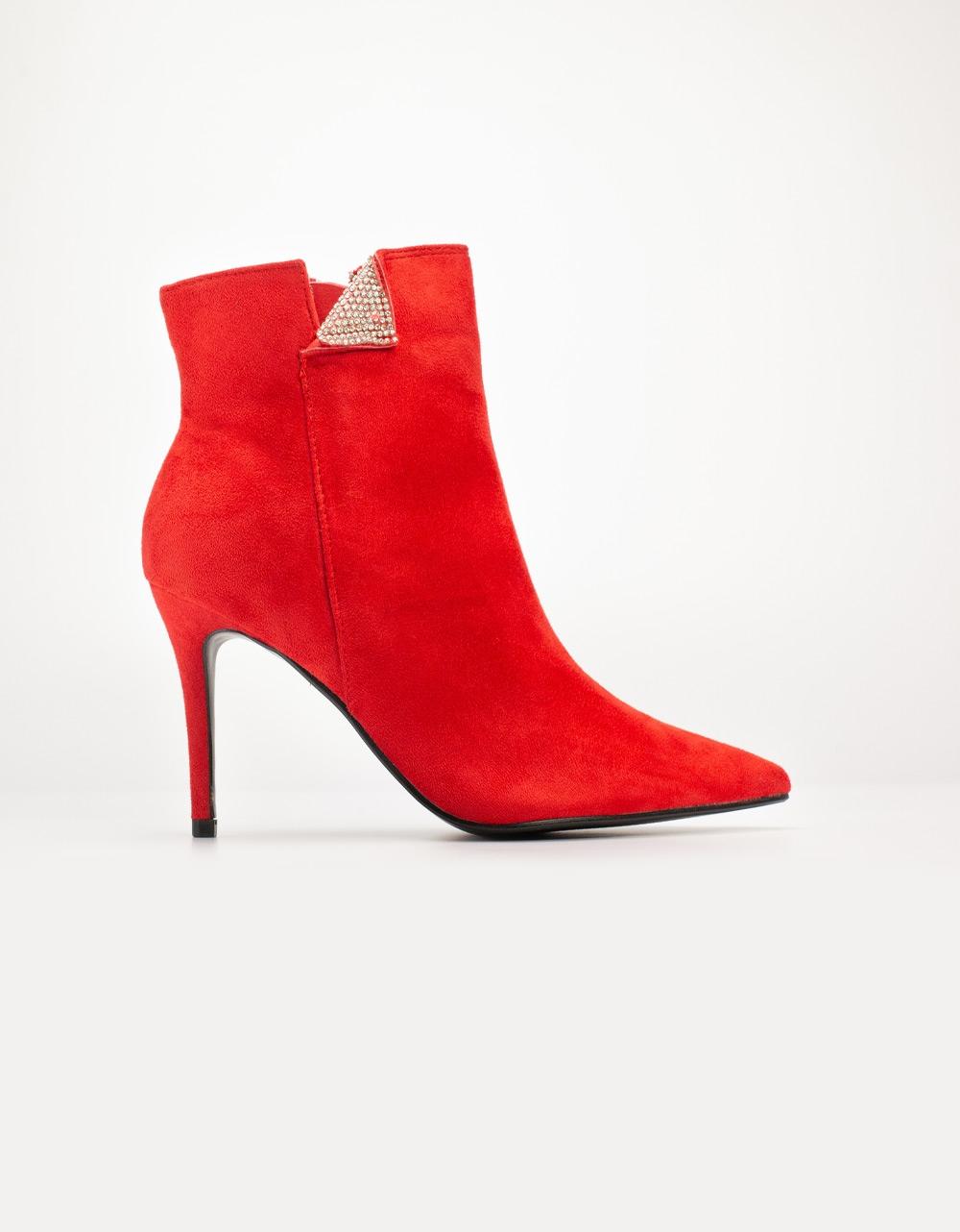 Εικόνα από Γυναικεία μποτάκια με διακοσμητικα strass Κόκκινο