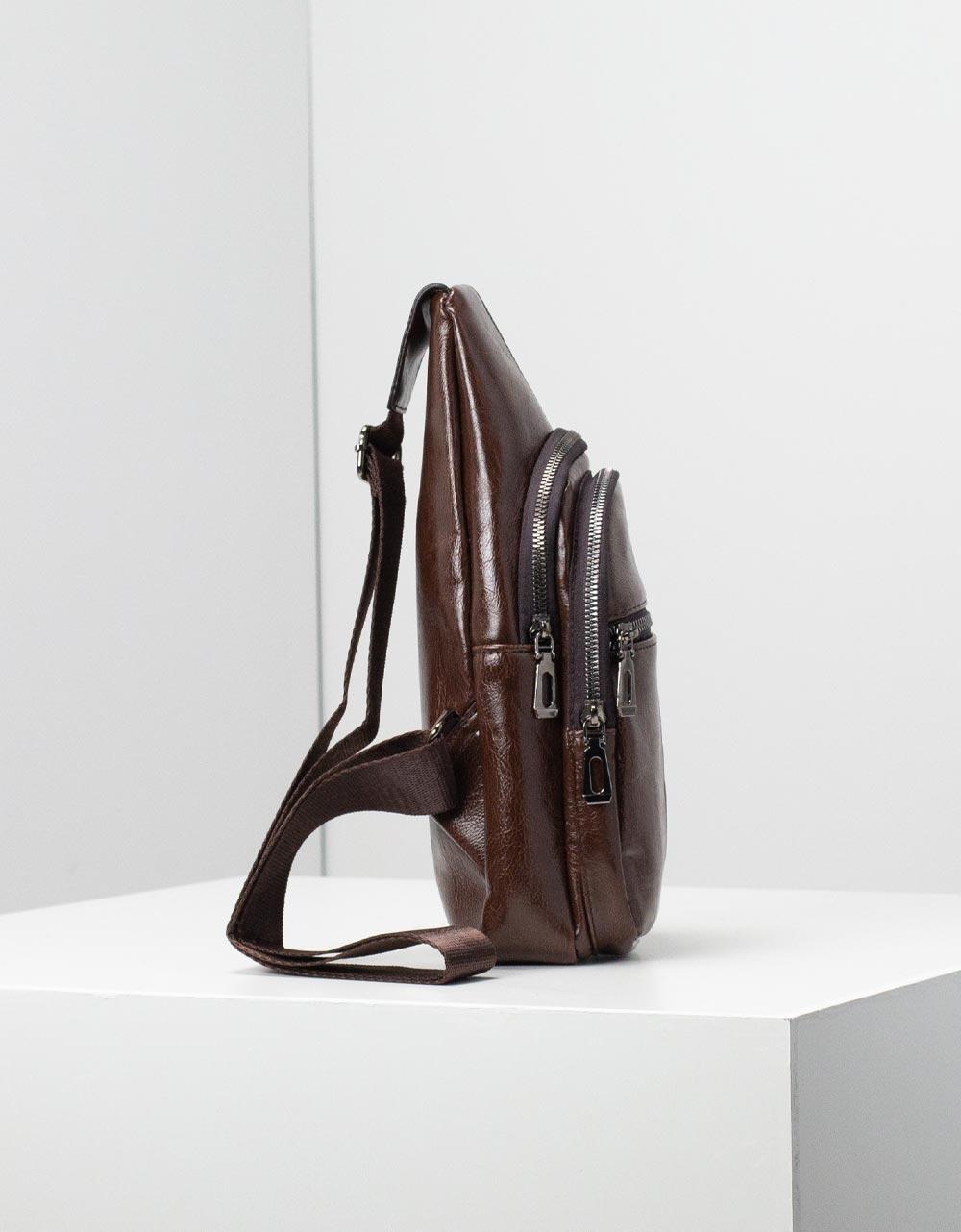Εικόνα από Ανδρικές τσάντες ώμου με εξωτερικά φερμουάρ Καφέ