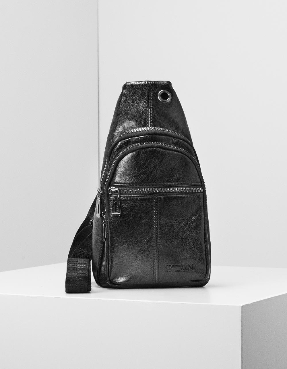 Εικόνα από Ανδρικές τσάντες ώμου με εξωτερικά φερμουάρ Μαύρο