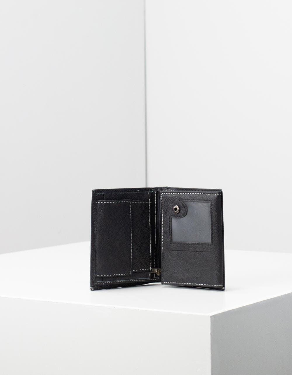 Εικόνα από Ανδρικά δερμάτινα πορτοφόλια με διακοσμητικές ραφές Μαύρο