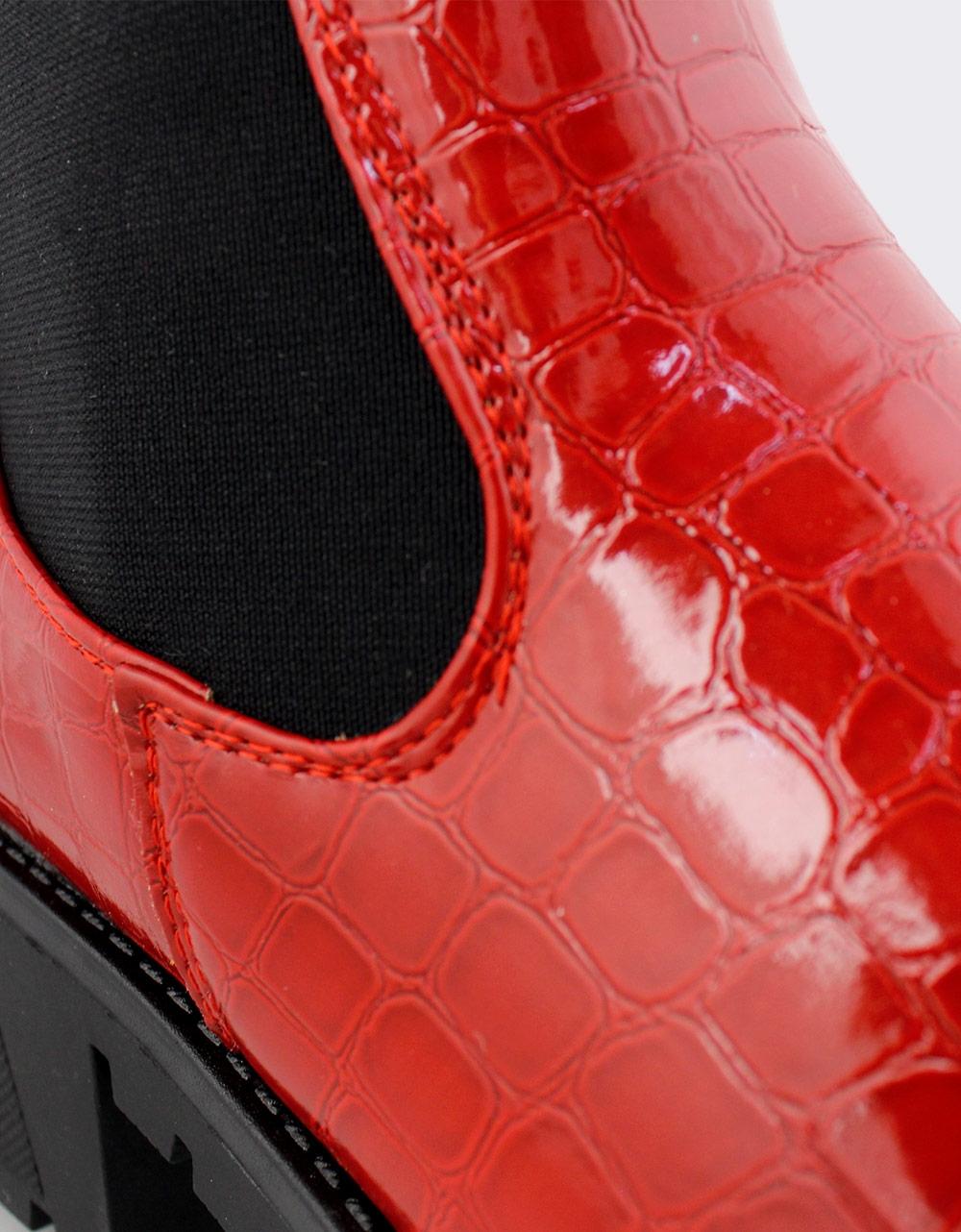 Εικόνα από Γυναικεία μποτάκια κροκό με λάστιχο Κόκκινο