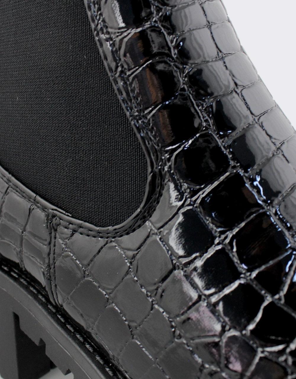 Εικόνα από Γυναικεία μποτάκια κροκό με λάστιχο Μαύρο
