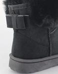 Εικόνα από Γυναικεία μποτάκια με γουνάκι και φιόγκο Μαύρο