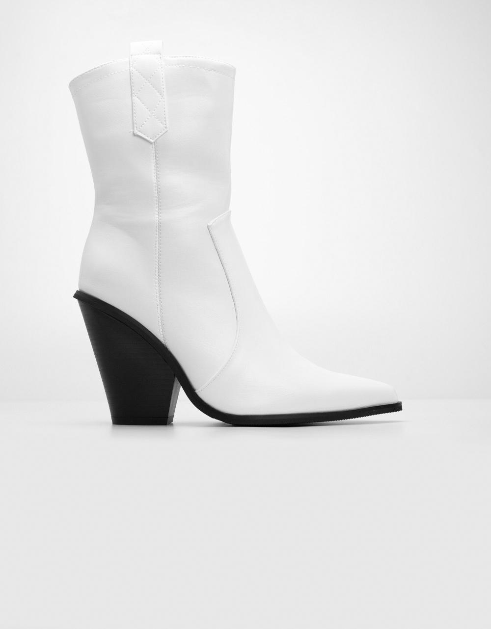 Εικόνα από Γυναικεία μποτάκια με χοντρό τακούνι Λευκό
