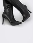 Εικόνα από Γυναικείες μπότες κροκό με λεπτό τακούνι Μαύρο