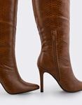 Εικόνα από Γυναικείες μπότες κροκό με λεπτό τακούνι Ταμπά