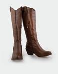 Εικόνα από Γυναικείες μπότες κροκό cowboy Καφέ