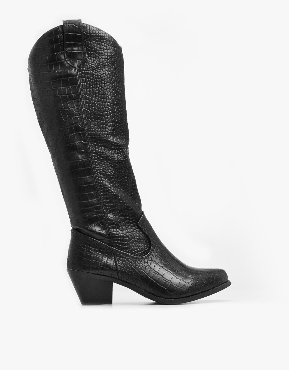 Εικόνα από Γυναικείες μπότες κροκό cowboy Μαύρο