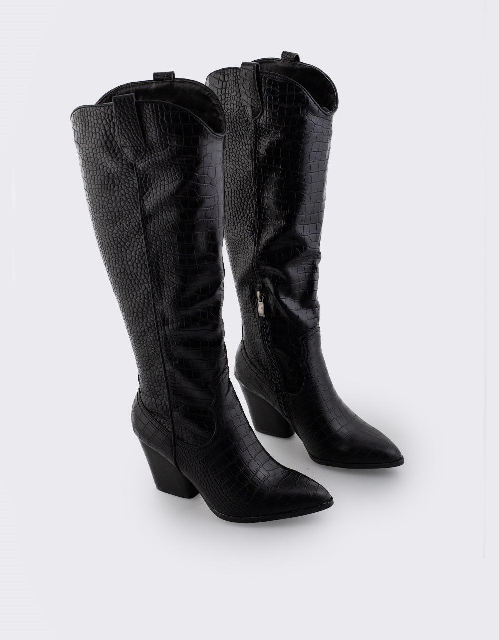 Εικόνα από Γυναικείες μπότες κροκό μονόχρωμες Μαύρο