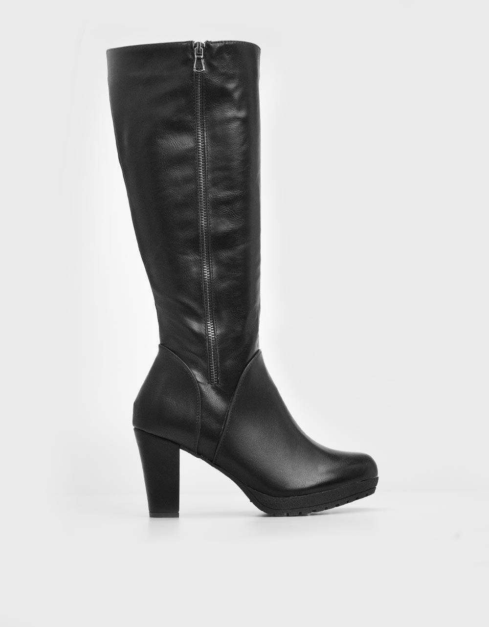 Εικόνα από Γυναικείες μπότες ψιλoτάκουνες με φιάπα Μαύρο