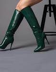 Εικόνα από Γυναικείες μπότες κροκό με λεπτό τακούνι Πράσινο