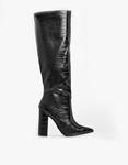 Εικόνα από Γυναικείες μπότες κροκό με χοντρό τακούνι Μαύρο