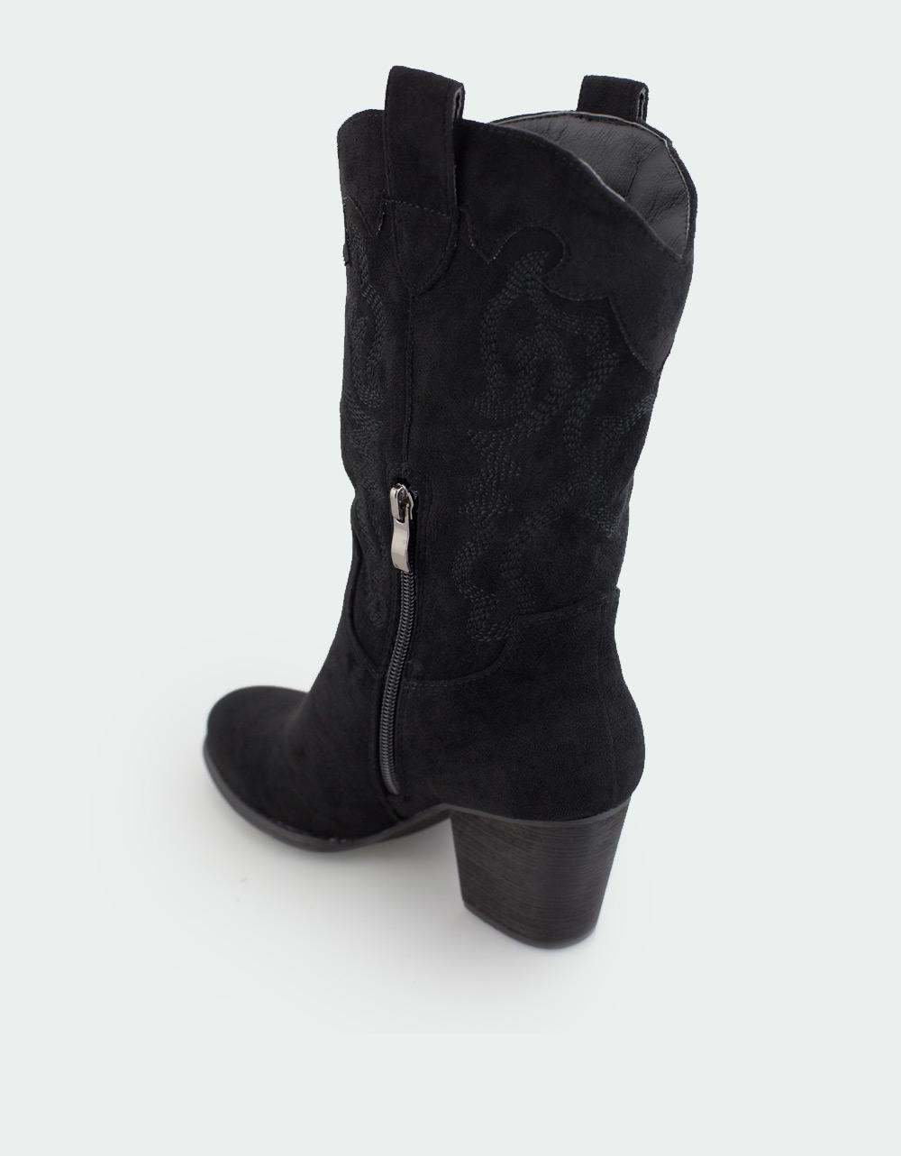 Εικόνα από Γυναικείες μπότες με κεντητά σχέδια Μαύρο