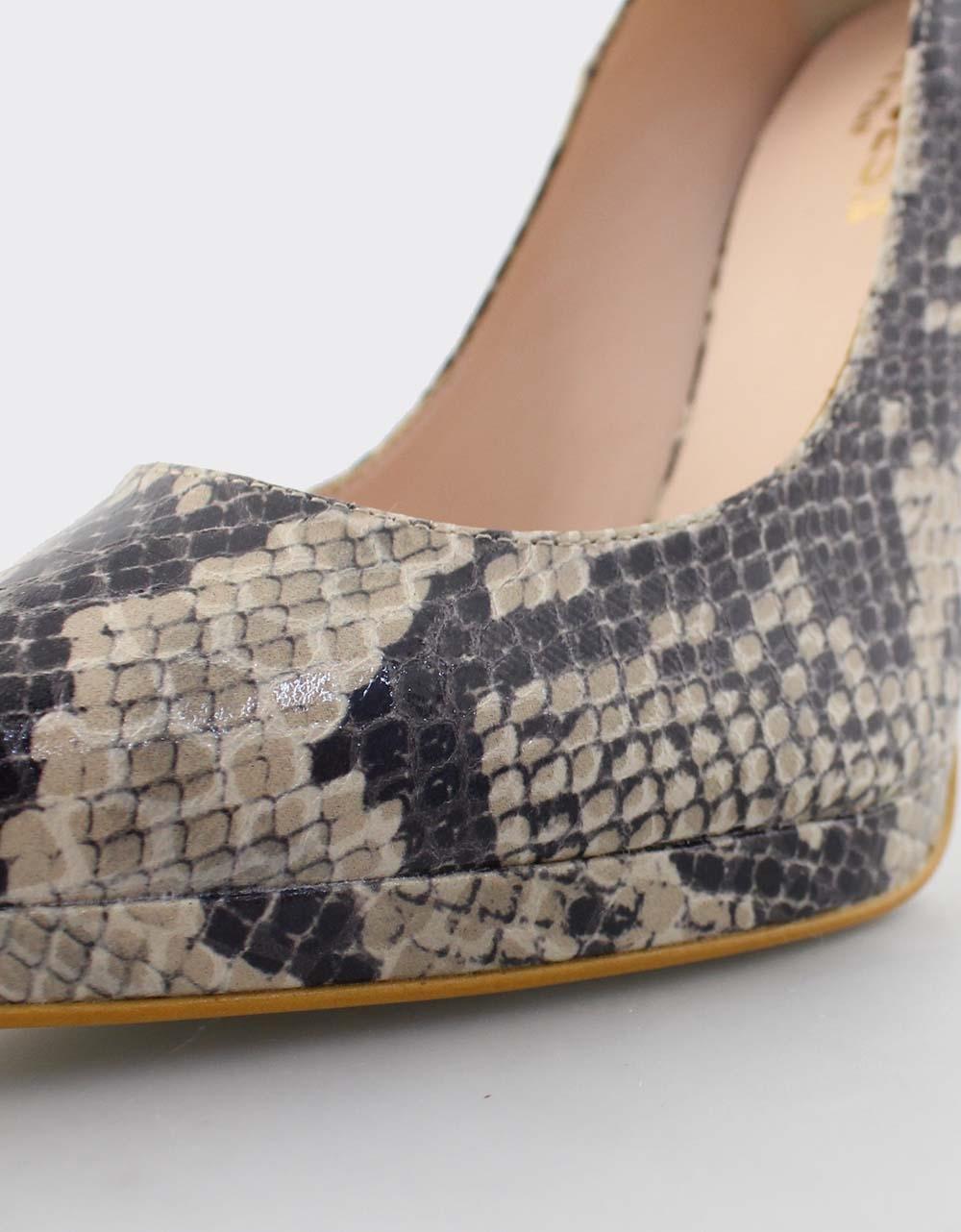 Εικόνα από Γυναικείες γόβες snake skin με φιάπα Μπεζ