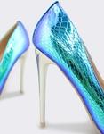 Εικόνα από Γυναικείες γόβες κροκό μεταλλιζέ Μπλε