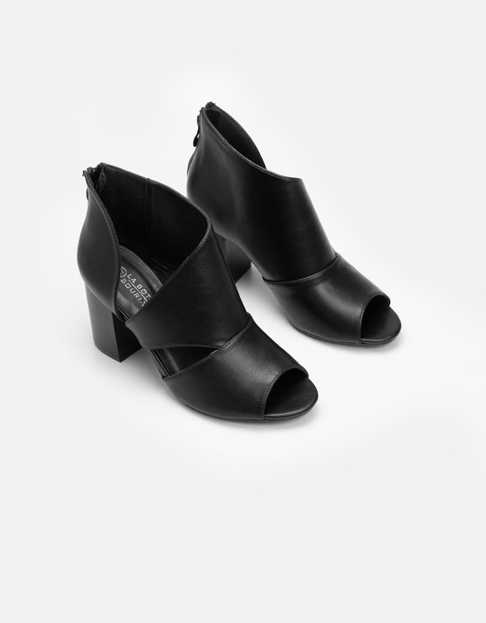 Εικόνα από Γυναικεία μποτάκια peep toe με πλαϊνό άνοιγμα Μαύρο