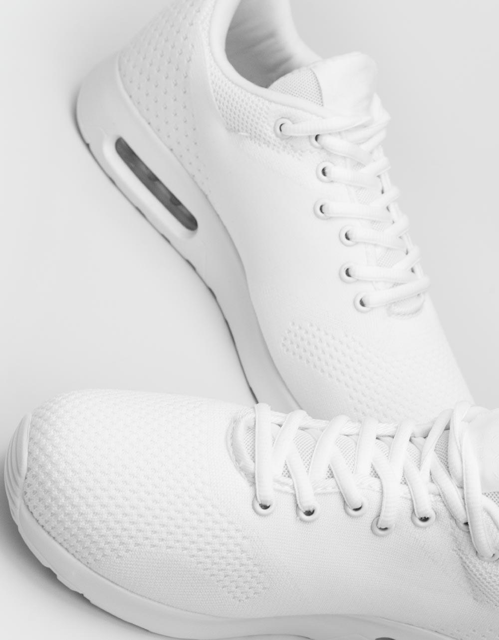 Εικόνα από Ανδρικά Sneakers με πλεκτό σχέδιο και αερόσολα Λευκό