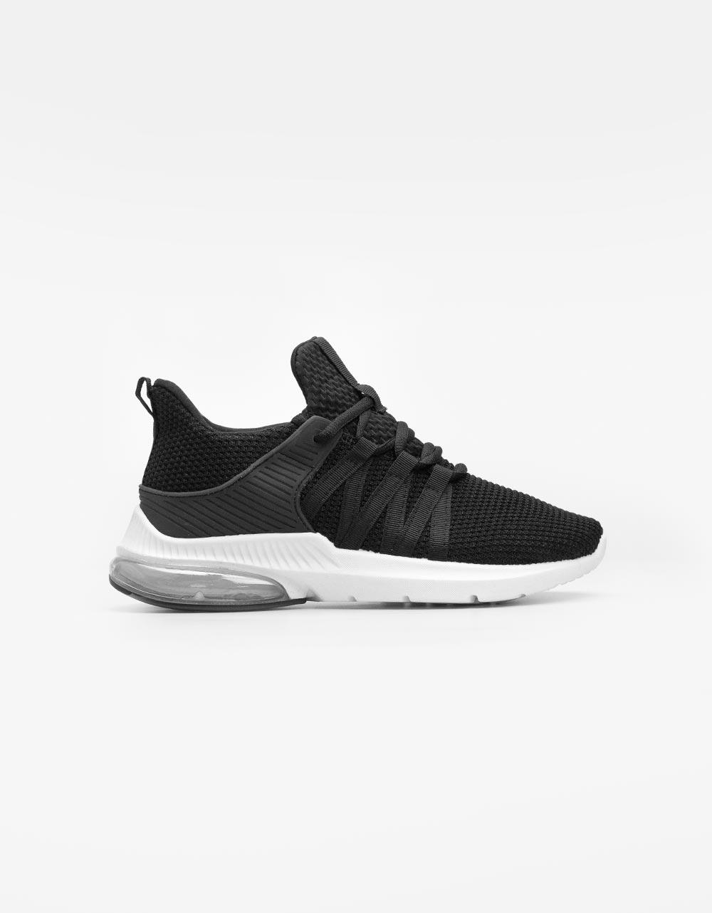 Εικόνα από Γυναικεία sneakers μονόχρωμα με αερόσολα Μαύρο/Λευκό