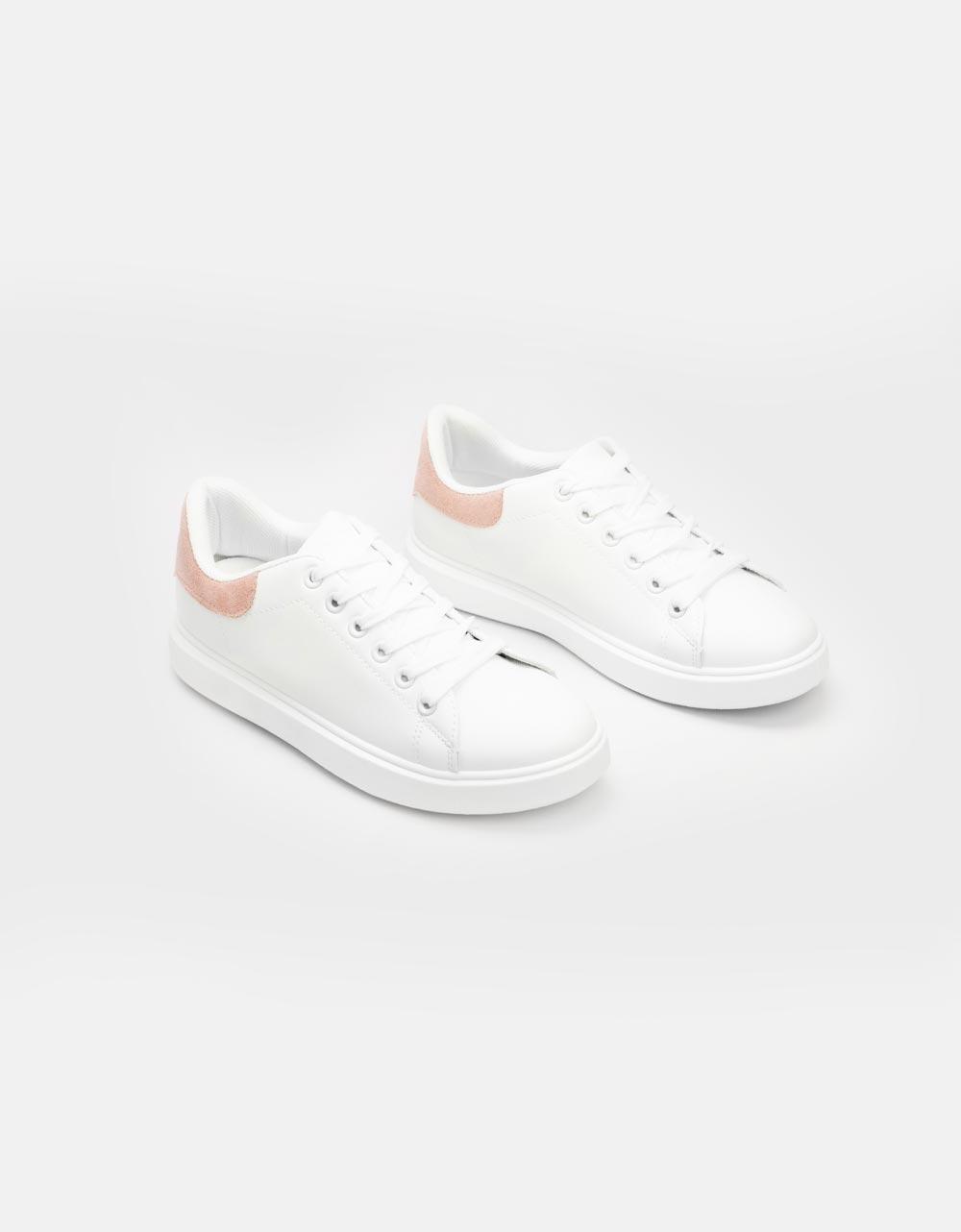 Εικόνα από Γυναικεία sneakers μονόχρωμα Λευκό/Ροζ