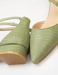 Εικόνα από Γυναικείες γόβες με χαμηλό τακούνι και κροκό μοτίβο Πράσινο