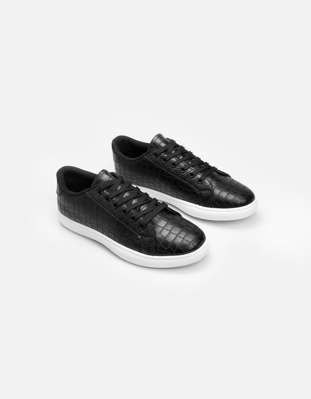 Εικόνα από Ανδρικά sneakers μονόχρωμα με κροκό Μαύρο/Λευκό