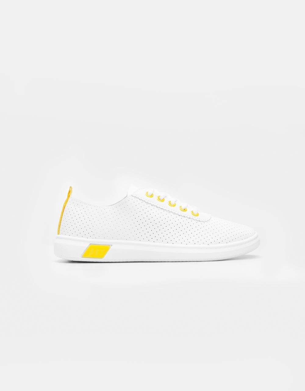 Εικόνα από Γυναικεία sneakers με δίχρωμο σχέδιο Λευκό/Κίτρινο
