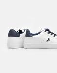 Εικόνα από Γυναικεία sneakers μονόχρωμα με λεπτομέρεια Λευκό/Μπλε