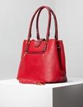 Εικόνα από Γυναικεία τσάντα ώμου με κροκό λεπτομέρειες Κόκκινο