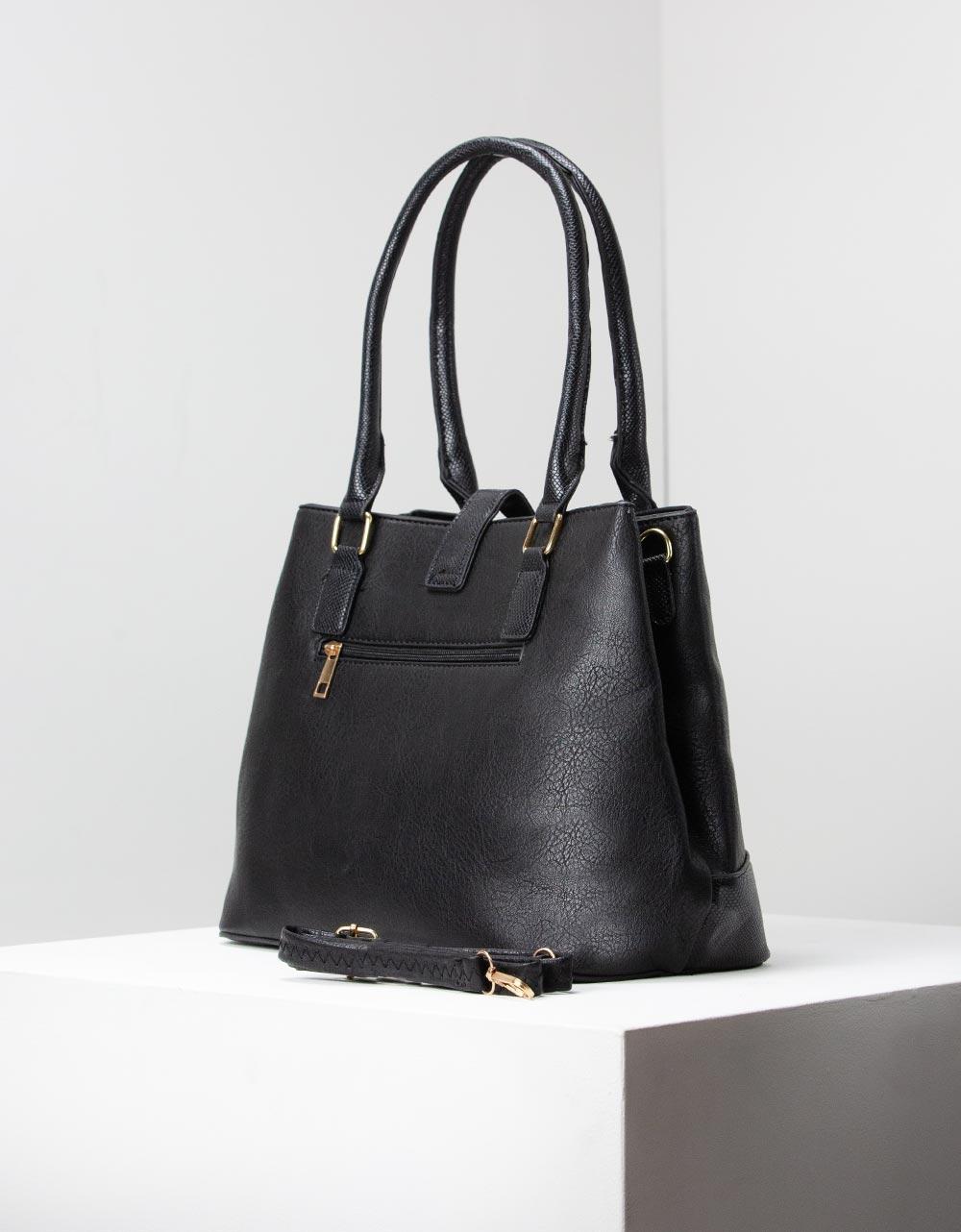 Εικόνα από Γυναικεία τσάντα ώμου με κροκό λεπτομέρειες Μαύρο