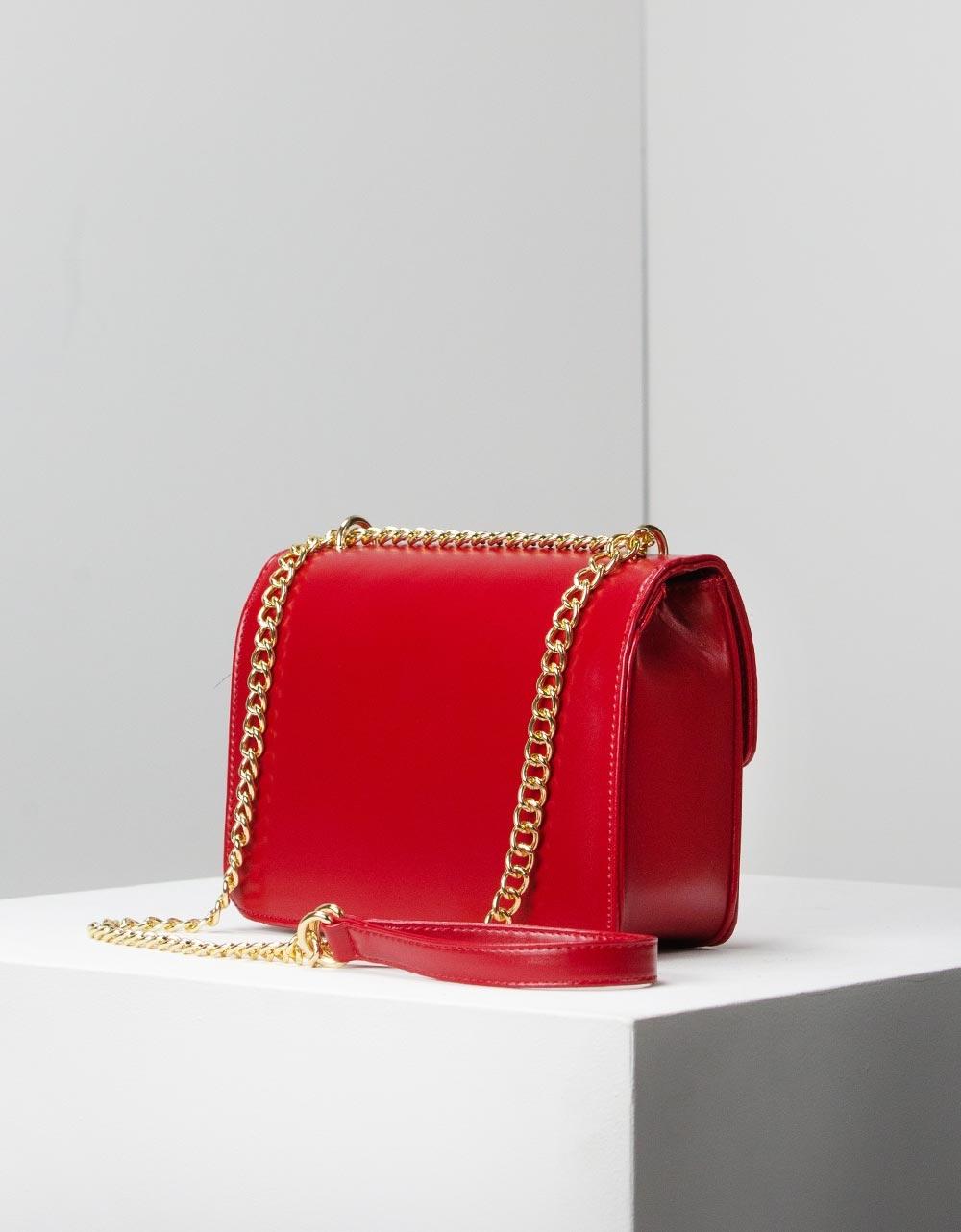 Εικόνα από Γυναικείες τσάντες ώμου μονόχρωμες με αλυσίδα Κόκκινο