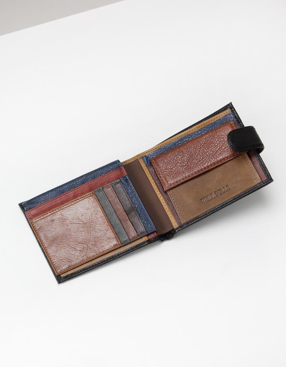 Εικόνα από Ανδρικά πορτοφόλια δερμάτινα σε απλή γραμμή Μαύρο