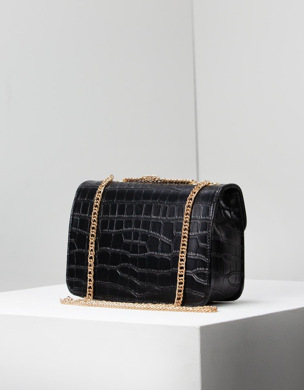 Εικόνα από Γυναικείες τσάντες ώμου με κροκό υλικό Μαύρο