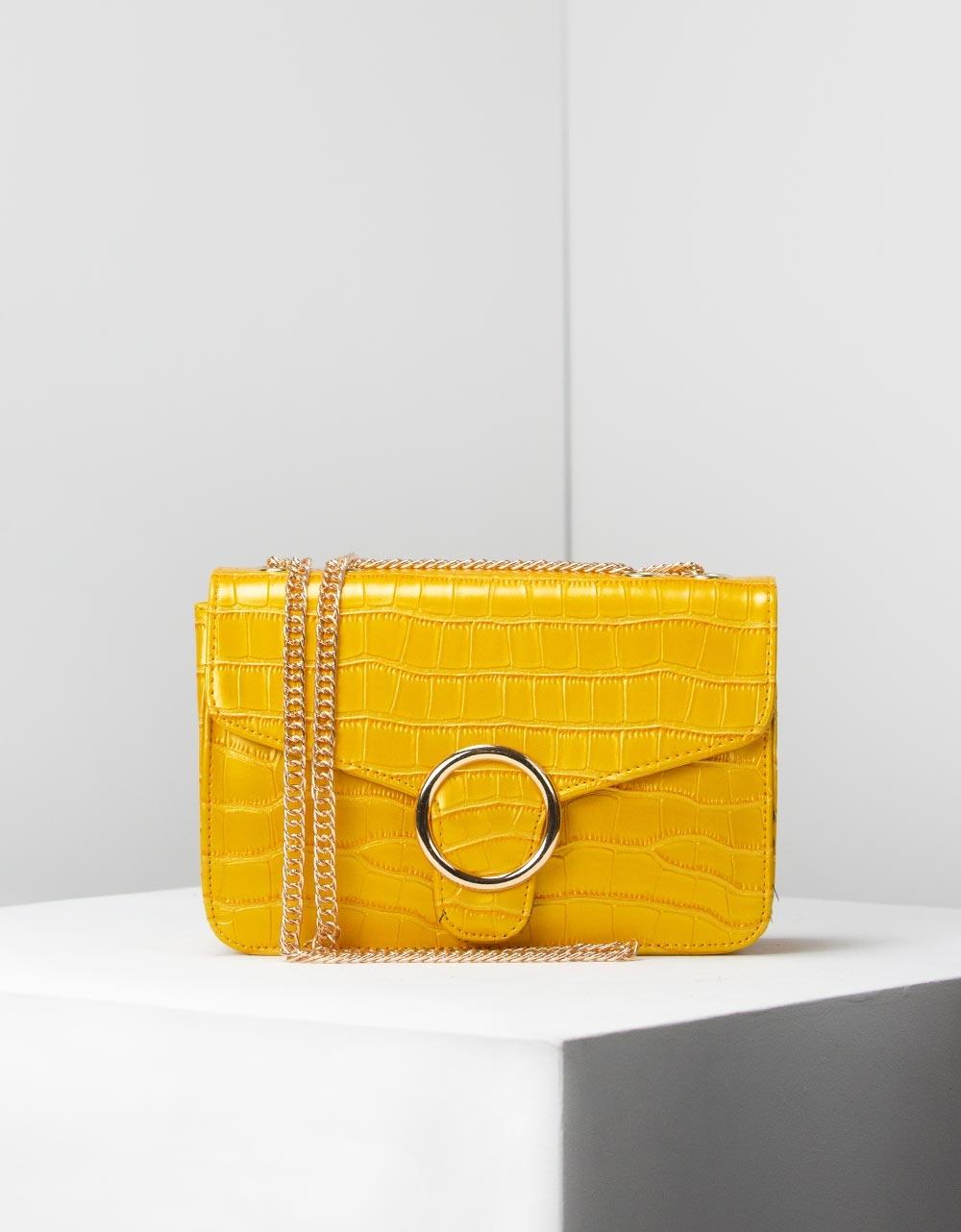 Εικόνα από Γυναικείες τσάντες ώμου με κροκό υλικό Κίτρινο