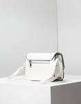 Εικόνα από Γυναικεία τσάντα χειρός με κροκό μοτίβο και μεταλλικό διακοσμητικό Λευκό