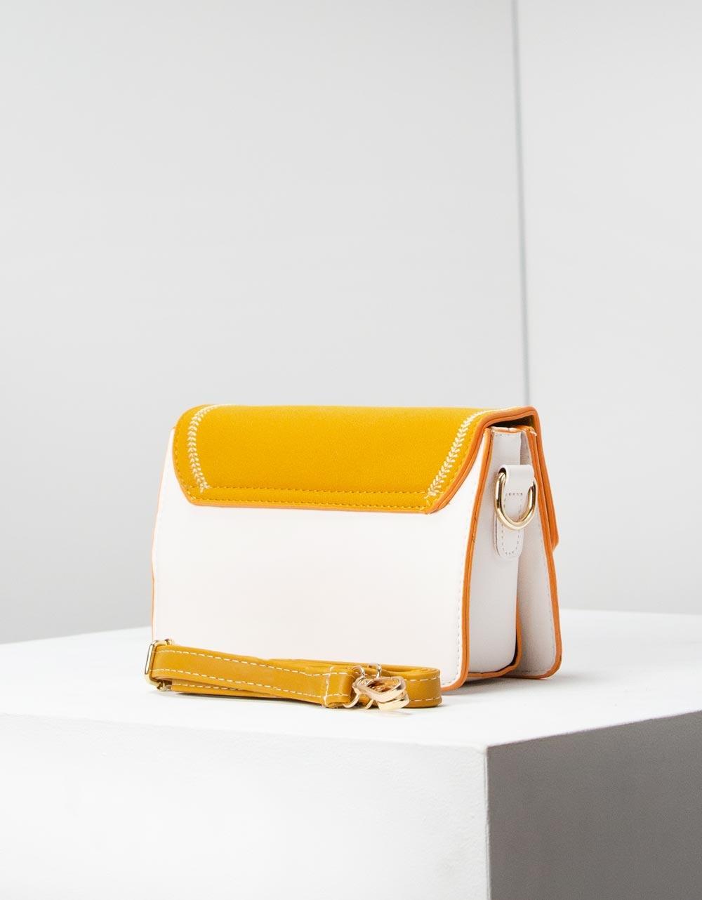 Εικόνα από Γυναικείες τσάντες ώμου με διακοσμητικές ραφές Κίτρινο