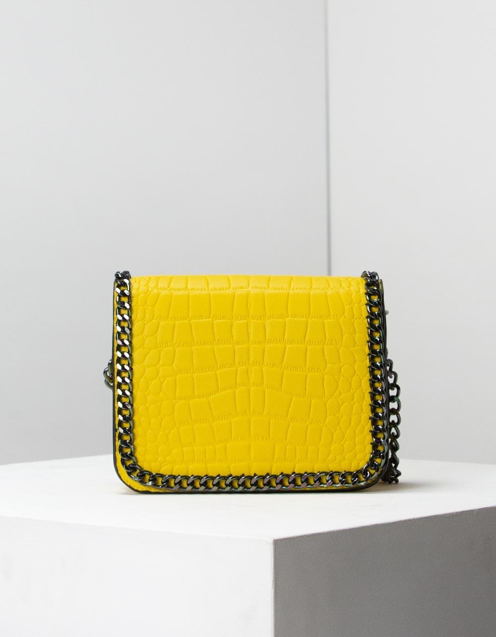 Εικόνα από Γυναικείες τσάντες ώμου με διακοσμητική αλυσίδα Κίτρινο