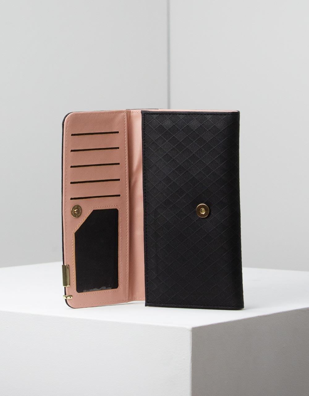 Εικόνα από Γυναικεία πορτοφόλια με ανάγλυφο σχέδιο Μαύρο