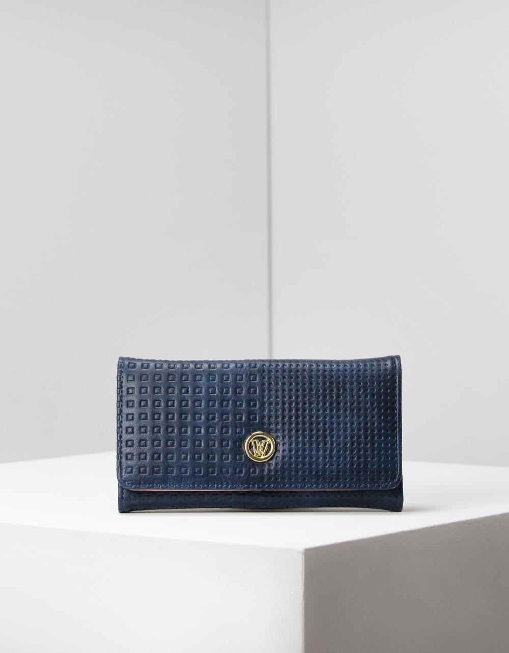 Εικόνα από Γυναικεία πορτοφόλια με ανάγλυφο σχέδιο Navy