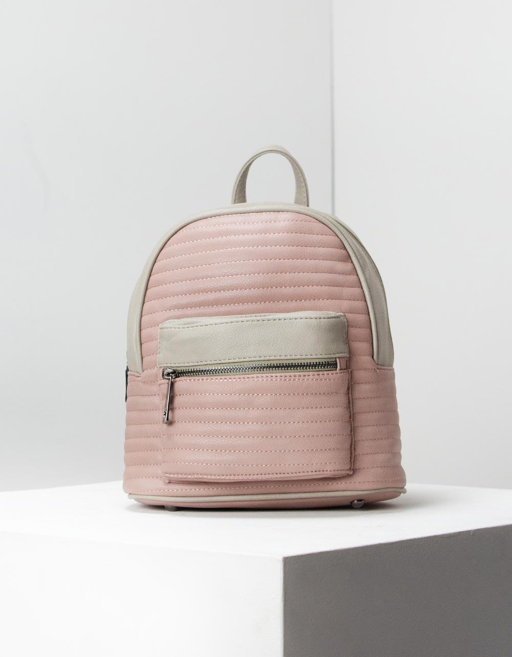 Εικόνα από Γυναικεία σακίδια πλάτης με διακοσμητικές ραφές Γκρι/Ροζ