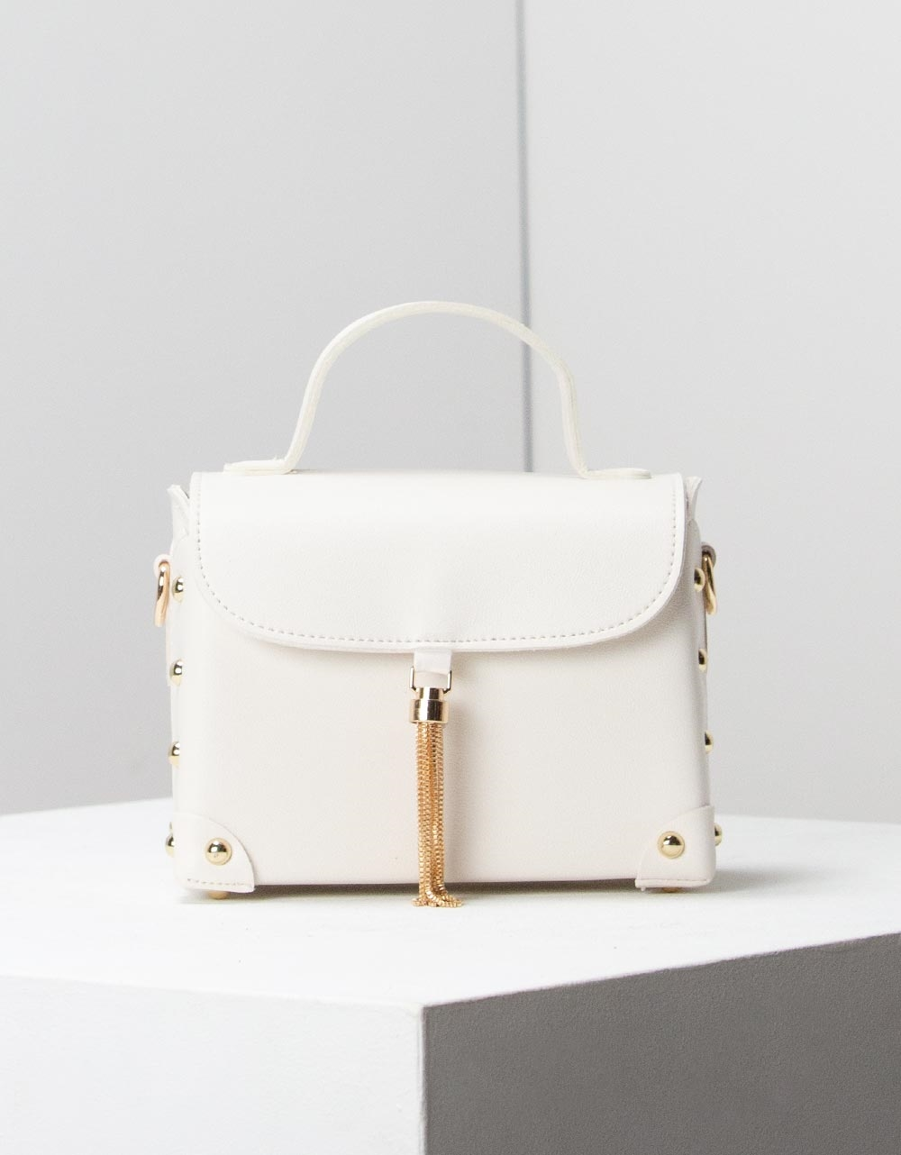 Εικόνα από Γυναικεία τσάντα ώμου με εξωτερική θήκη Λευκό