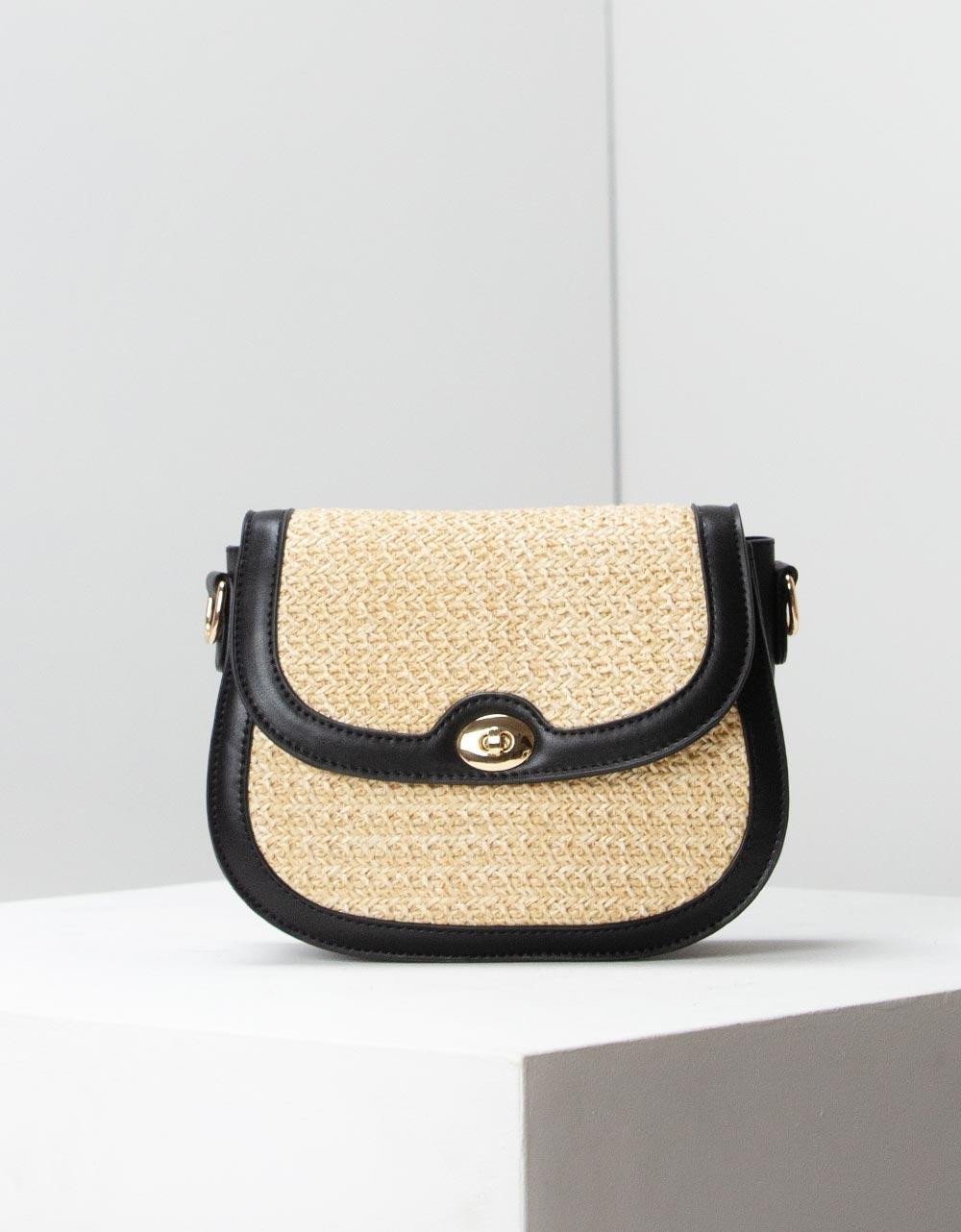 Εικόνα από Γυναικεία τσάντα ώμου με ψάθινη λεπτομέρεια Μπεζ/Μαύρο
