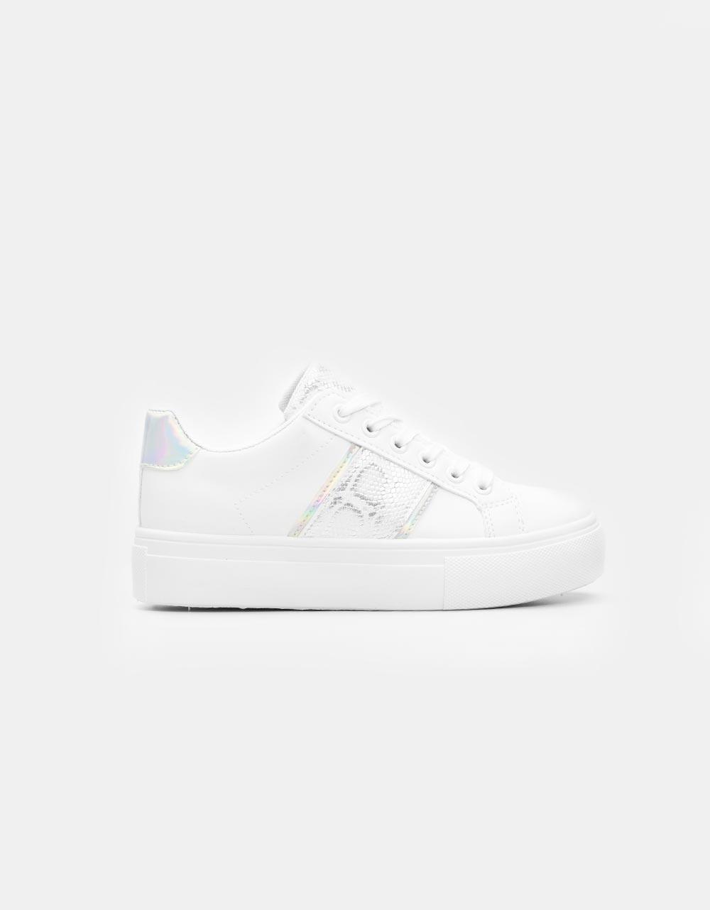 Εικόνα από Γυναικεία sneakers μονόχρωμα με κροκό λεπτομέρεια Λευκό/Ασημί
