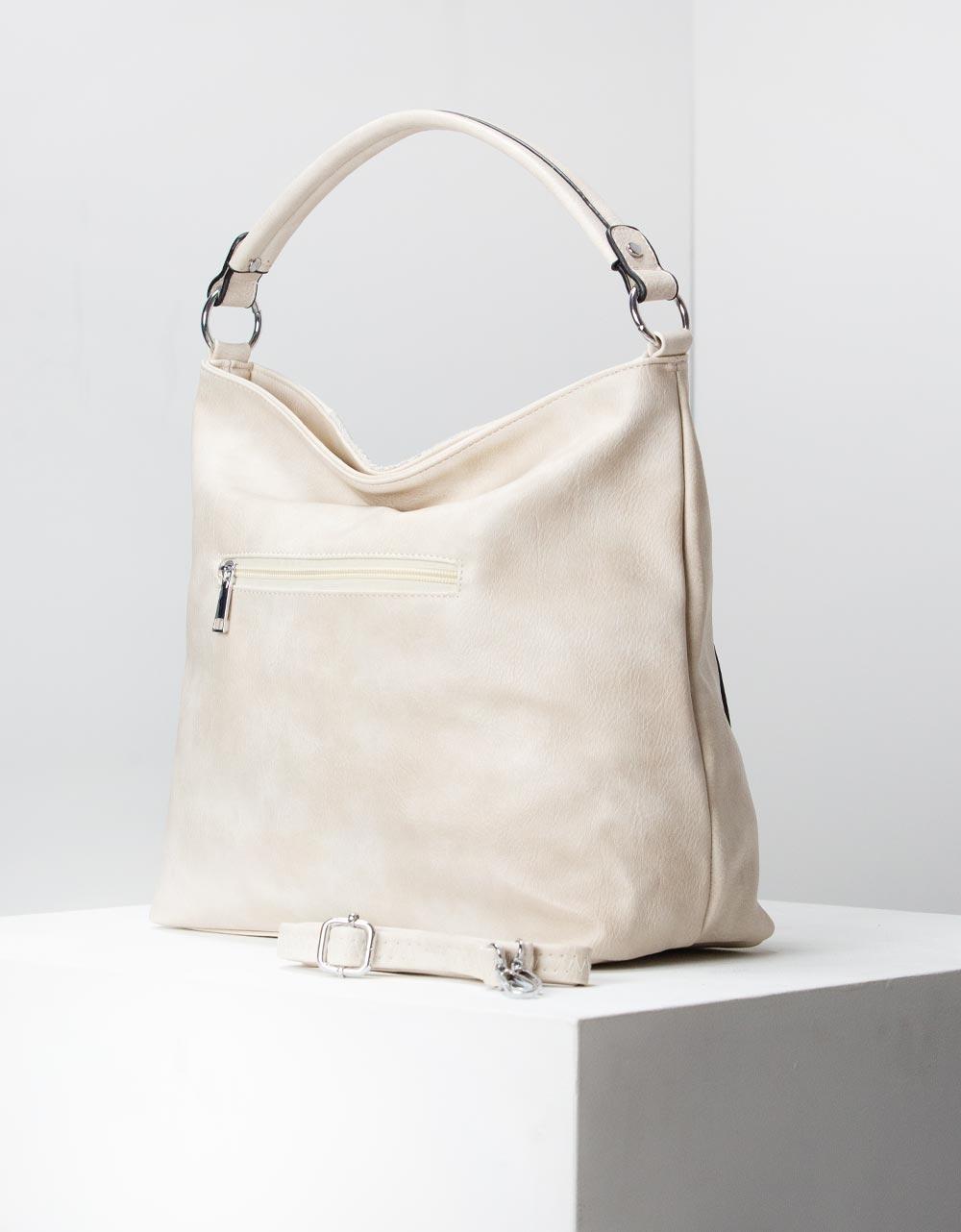 Εικόνα από Γυναικεία τσάντα ώμου με ανάγλυφες λεπτομέρειες Μπεζ