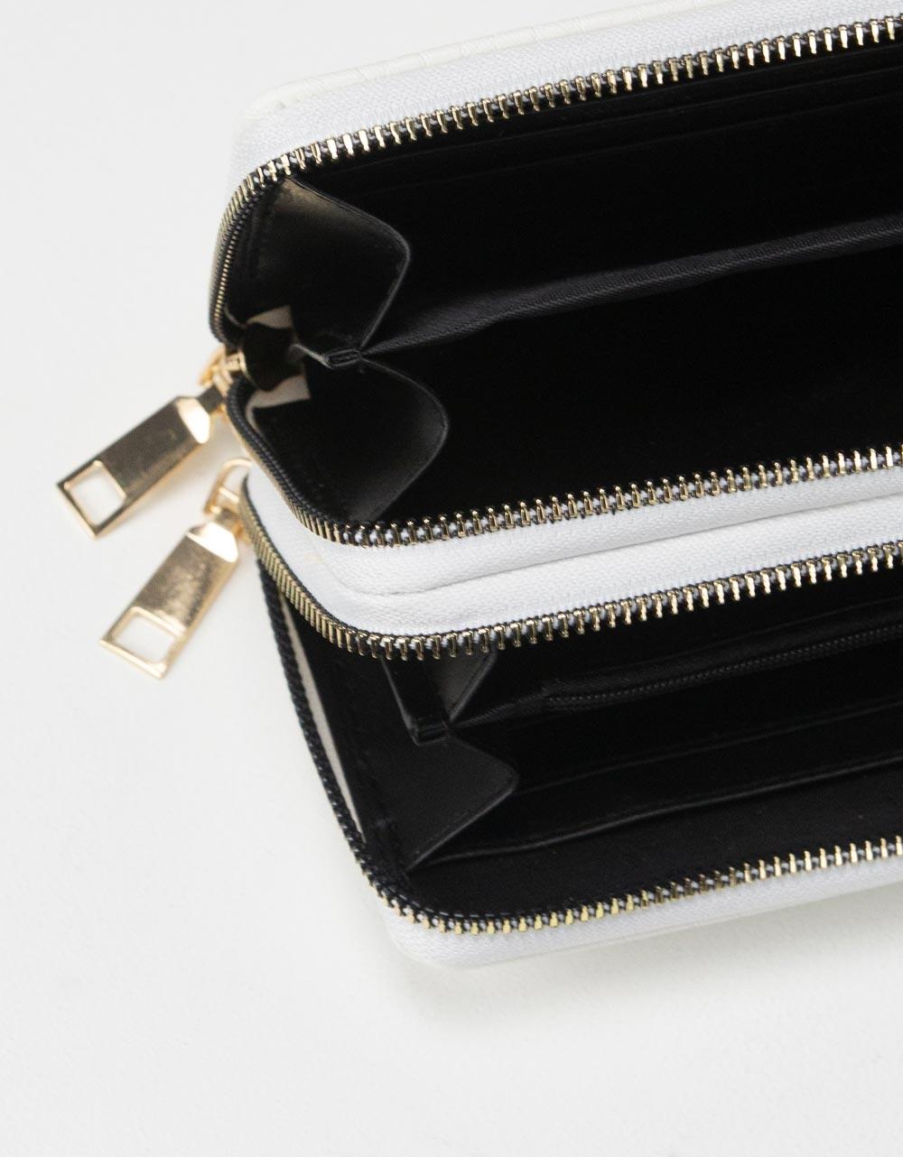 Εικόνα από Γυναικεία πορτοφόλια με κροκό σχέδιο Λευκό