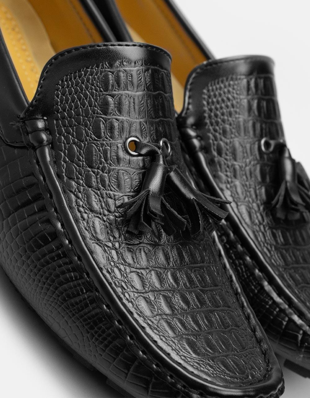 Εικόνα από Ανδρικά loafers κροκό Μαύρο