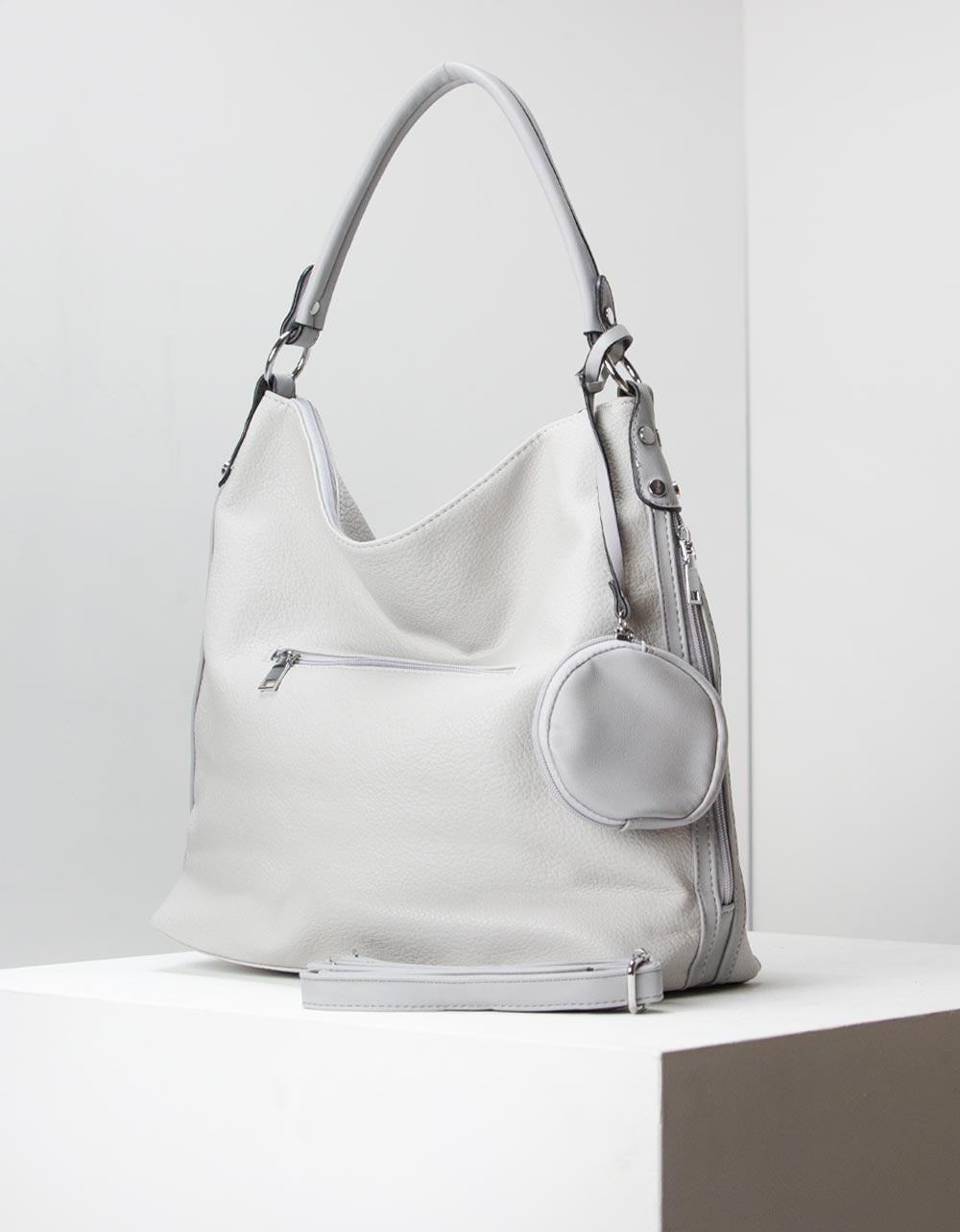Εικόνα από Γυναικείες τσάντες ώμου χιαστί μονόχρωμες Γκρι