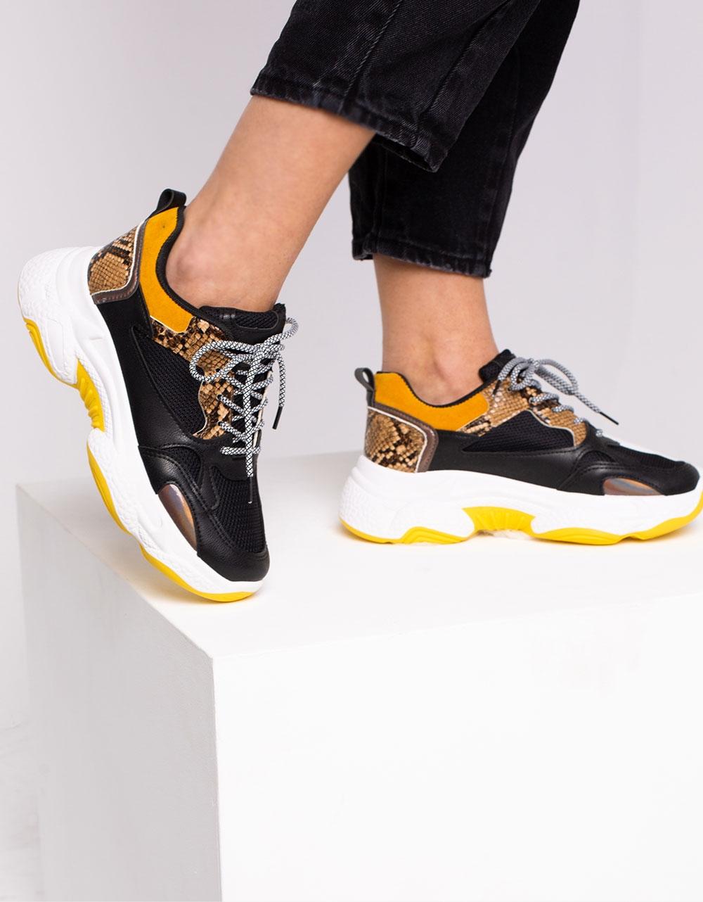 Εικόνα από Γυναικεία sneakers με ανάγλυφα σχέδια Μαύρο