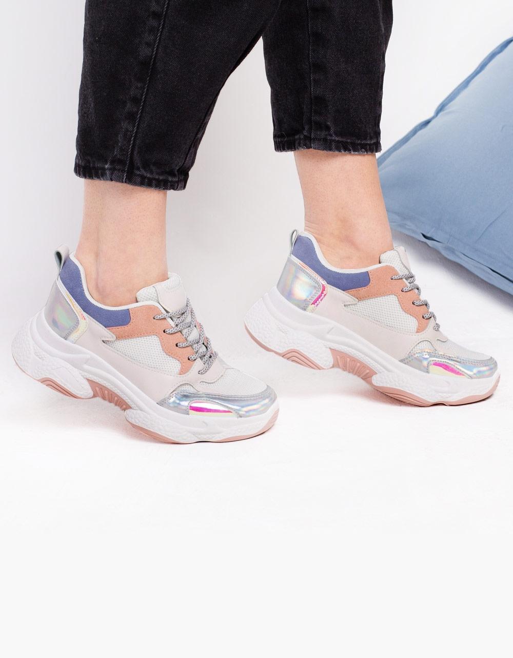 Εικόνα από Γυναικεία sneakers με ανάγλυφα σχέδια Λευκό/Ροζ