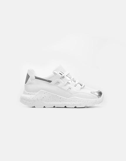 Εικόνα της Γυναικεία sneakers με μοτίβο Λευκό/Ασημί